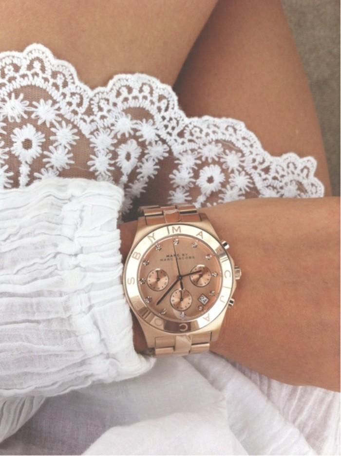Cool-montre-femme-doré-rose-michel-kors-robe-blanche