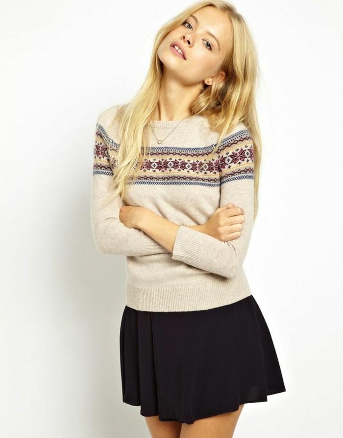Cool-pull-jacquard-norvégien-femme-Belle-tenue-jupe-skater-jolie