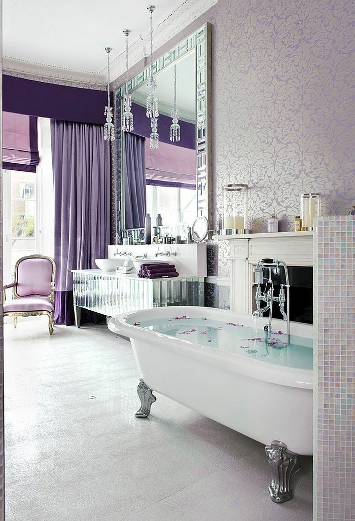 Déco-intérieur-papier-peint-pour-salle-de-bain-belle-en-violet