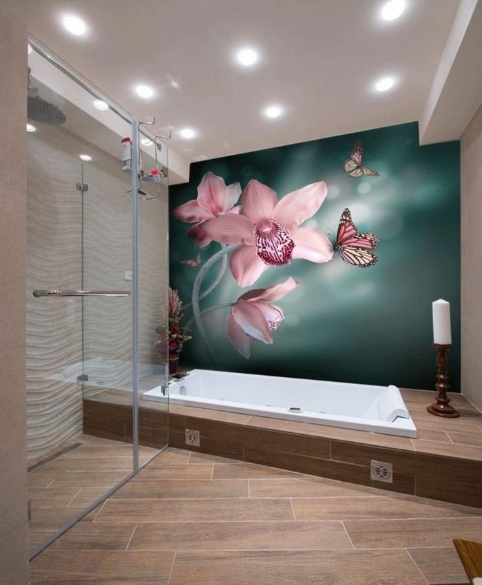 Déco-intérieur-papier-peint-pour-salle-de-bain-fleurs-tapet-photo