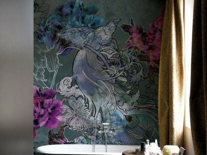 Déco-intérieur-papier-peint-pour-salle-de-bain-joie-fleurs
