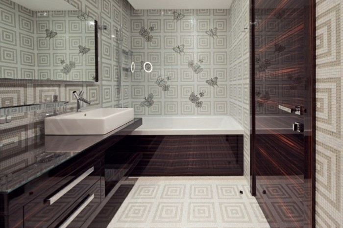 Papier peint pour salle de bain 45 id es magnifiques for Papier peint vinyl salle de bain