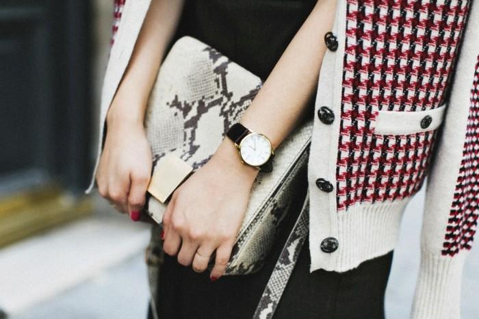 Idée-tenue-montre-fossil-rose-doré-montre-quantieme-noir-et-blanc