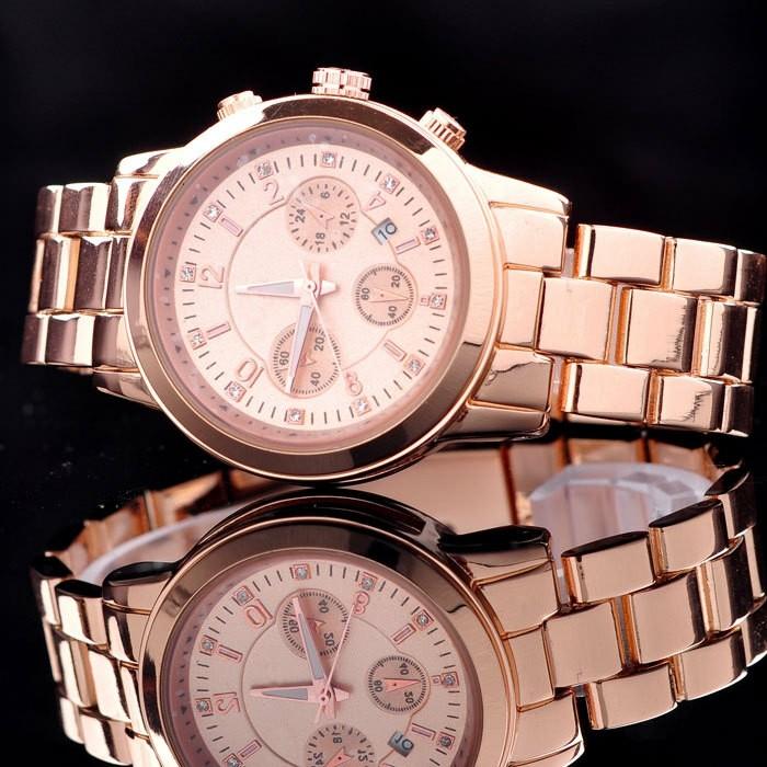 Idée-tenue-montre-fossil-rose-doré-montre-quantieme-rose-doré