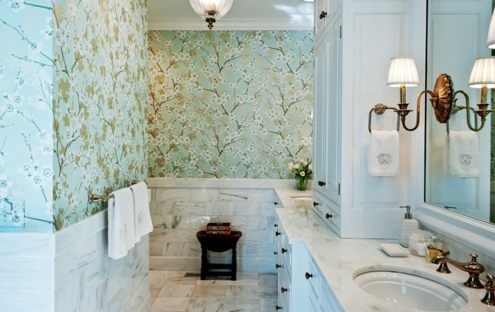 Le-papier-peint-salle-de-bain-design-intérieur-vert-claire