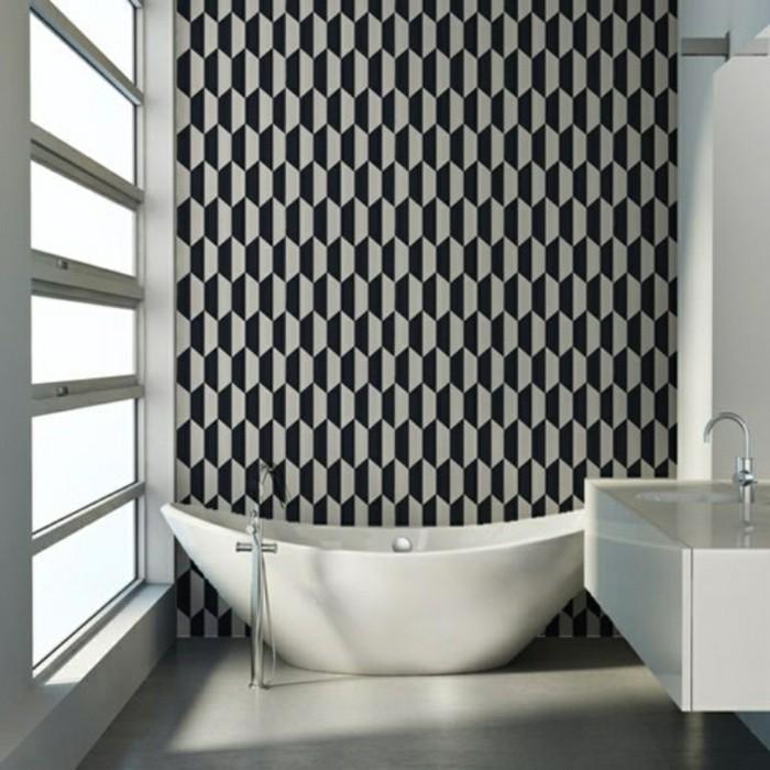 Les-plus-beaux-papier-peint-salle-de-bains-design-geometrique-noir-et-blanc