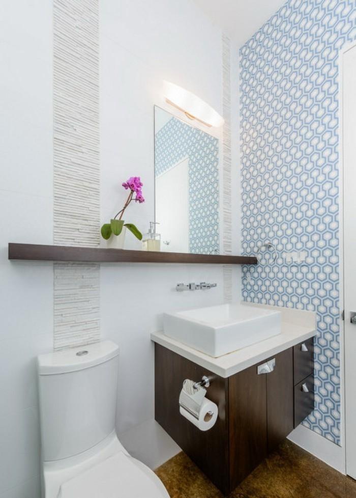 Papier peint salle de bain bleu papier peint intiss for Papier peint salle de bain
