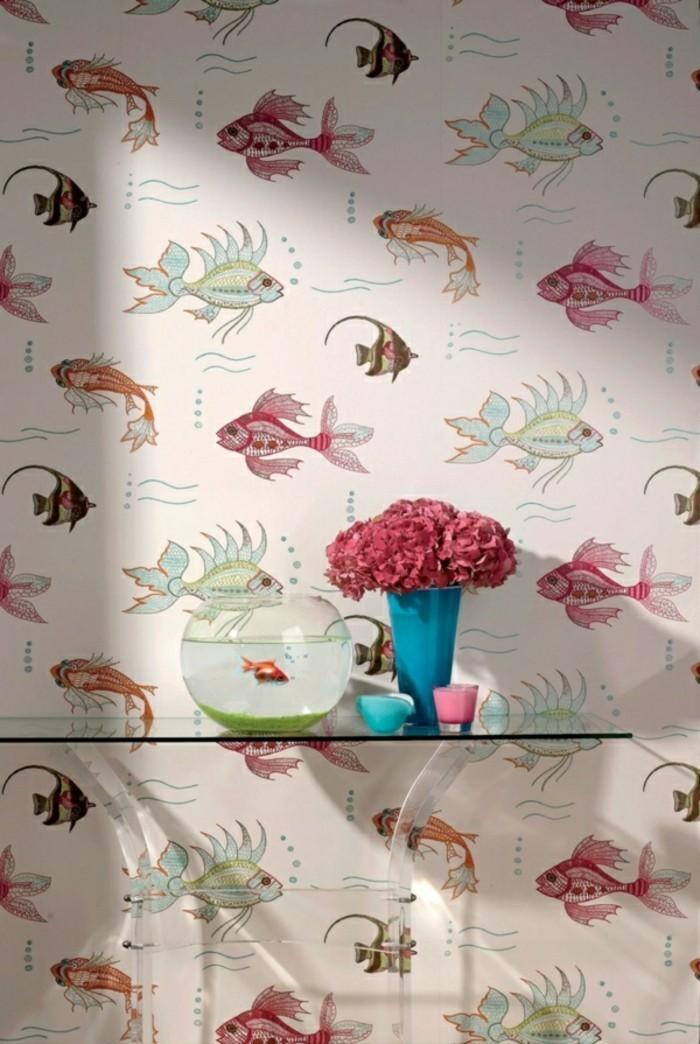 Papier-peint-de-salle-de-bain-design-vintage-aménagement-poissons-cool-idée