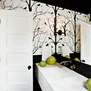 Papier peint pour salle de bain - 45 idées magnifiques!