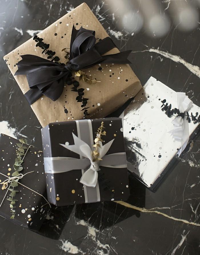 beau-papier-cadeau-personnalisé-noeud-cadeau-belle-photo-blanc-et-noir-et-doré