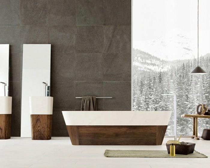 Papier peint salle bain idees accueil design et mobilier for Papier peint special salle de bain