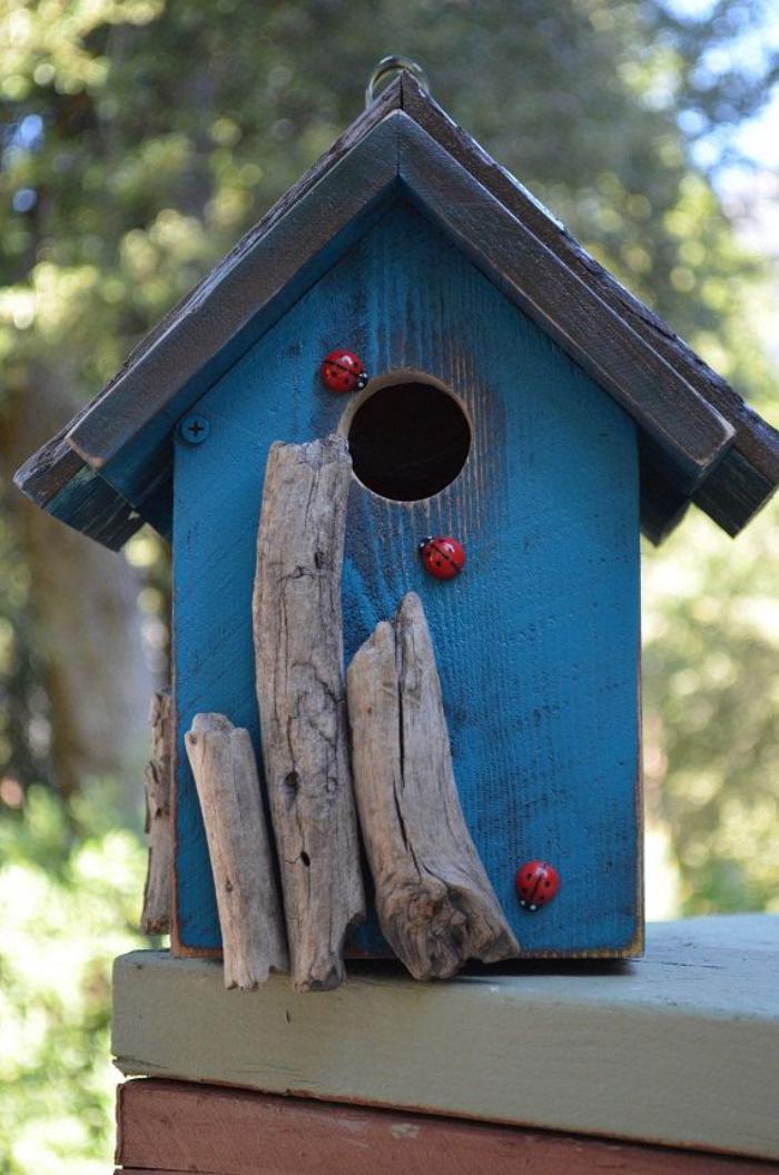 cabane-à-oiseaux-maison-d'oiseau-bleue-avec-coccinelles
