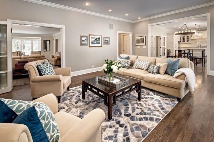 Le canap beige meuble classique pour le salon - Imitation canape togo ...