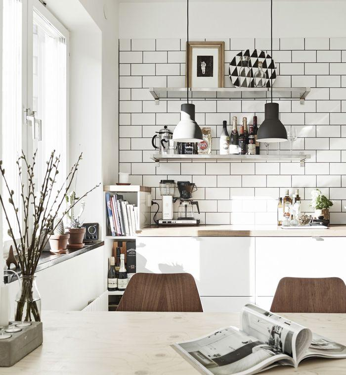22 Scandinavian Home Office Designs Decorating Ideas: Le Carrelage Blanc Brillant