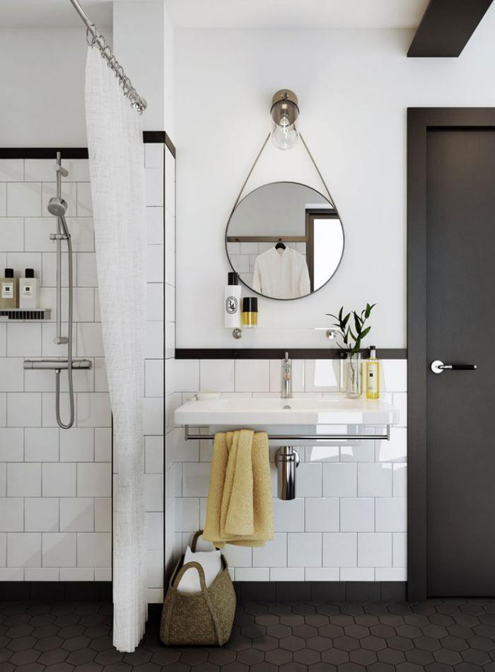 carrelage-blanc-brillant-salle-de-bain-en-noir-et-blanc
