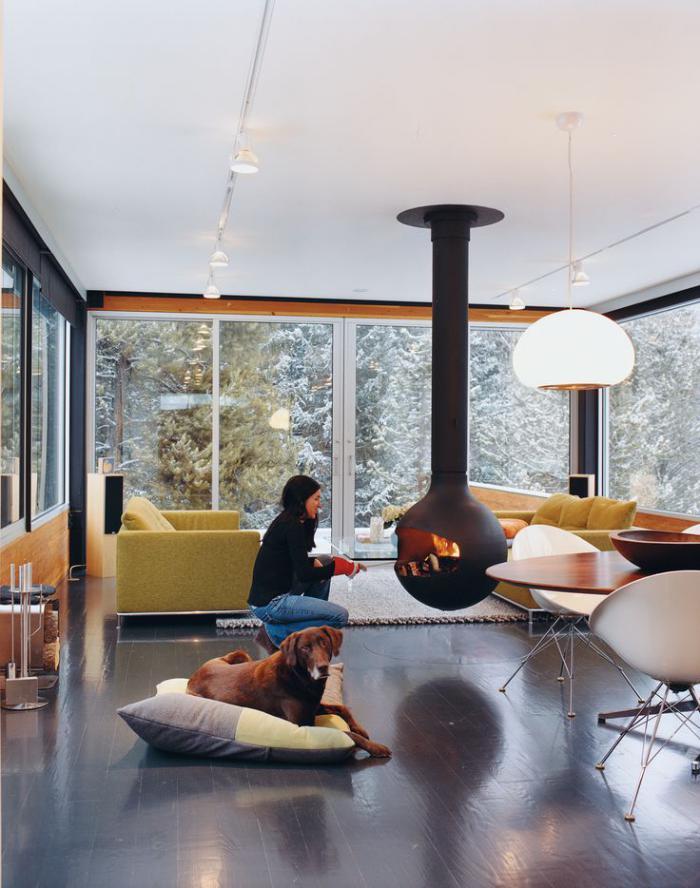 fabulous cheminee suspendue au plafond with luminaire. Black Bedroom Furniture Sets. Home Design Ideas