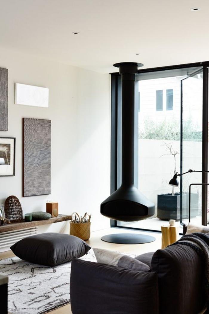 cheminee suspendue au plafond. Black Bedroom Furniture Sets. Home Design Ideas