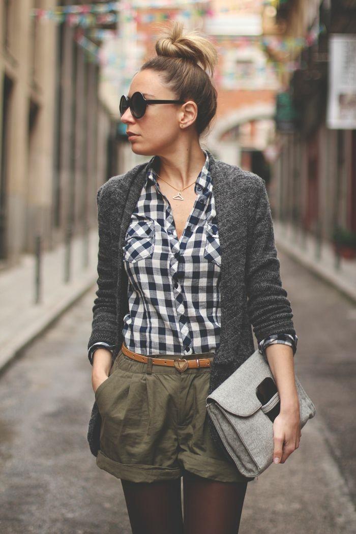 chemise-à-carreau-cardigan-mi-long-gilet-femme-long-tenue-chic