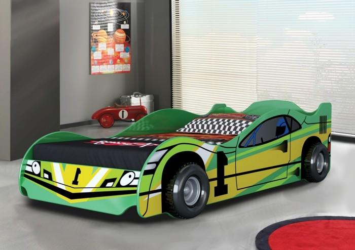 cher-conforama-voiture-lit-enfant-pas-chambre-enfant-déco-automobile-vert-et-jaune