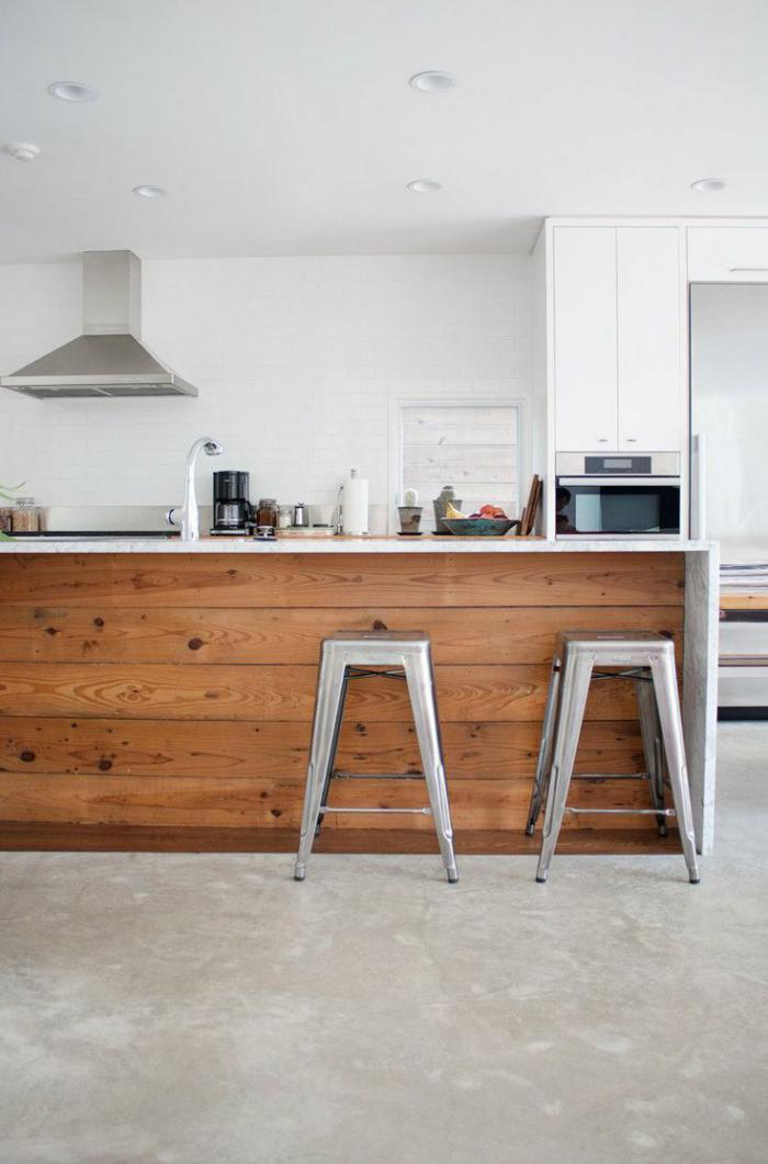 comptoir-en-bois-recyclé-îlot-bar-de-cuisine-poutres-en-bois