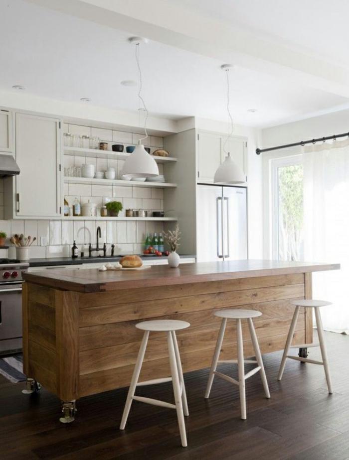 Le comptoir en bois recycl est une jolie tendance adopter - Foto ilot cuisine ...