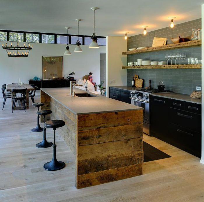 comptoir-en-bois-recyclé-cuisine-moderne-style-bois-de-grange