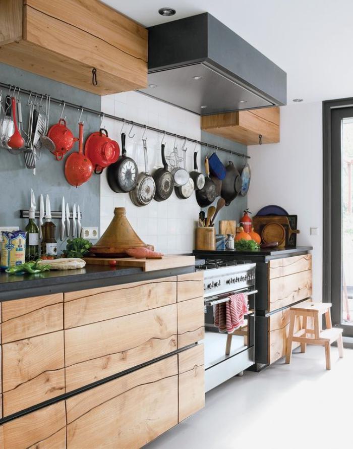 le comptoir en bois recyclé est une jolie tendance à adopter ... - Meuble Comptoir Cuisine