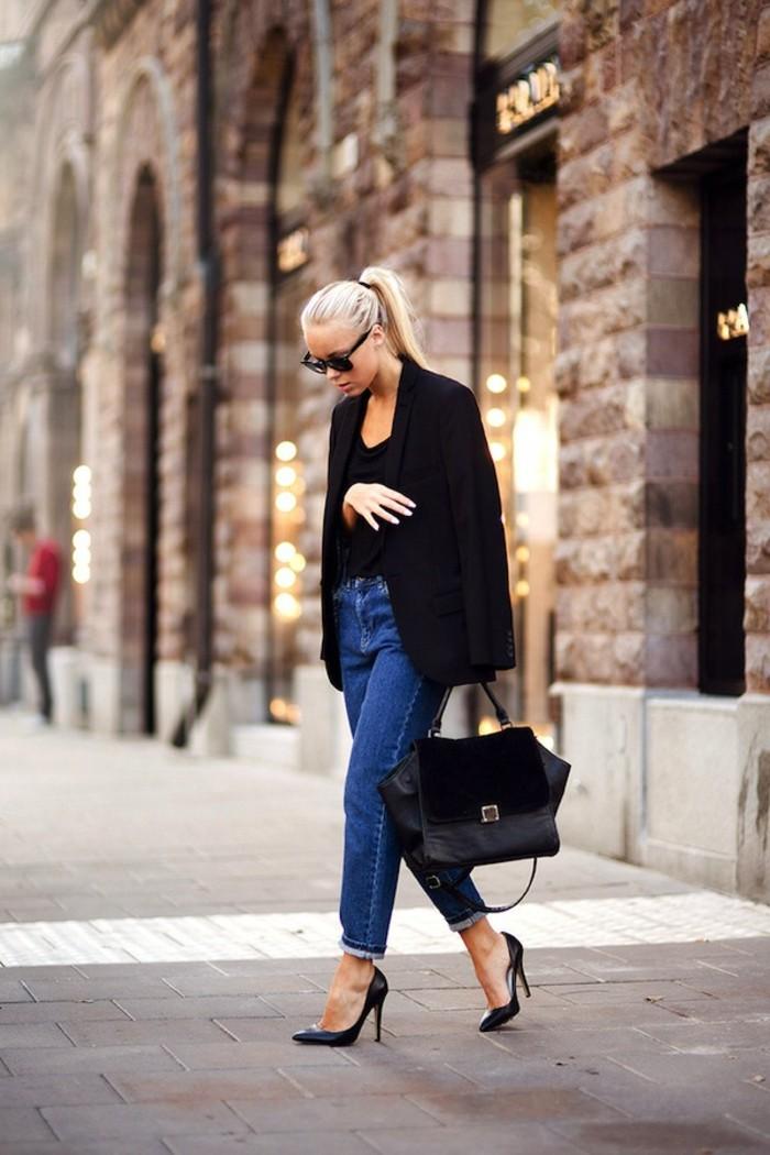 cool-talon-compensé-noir-haut-talon-escarpins-confortables-blonde-femme