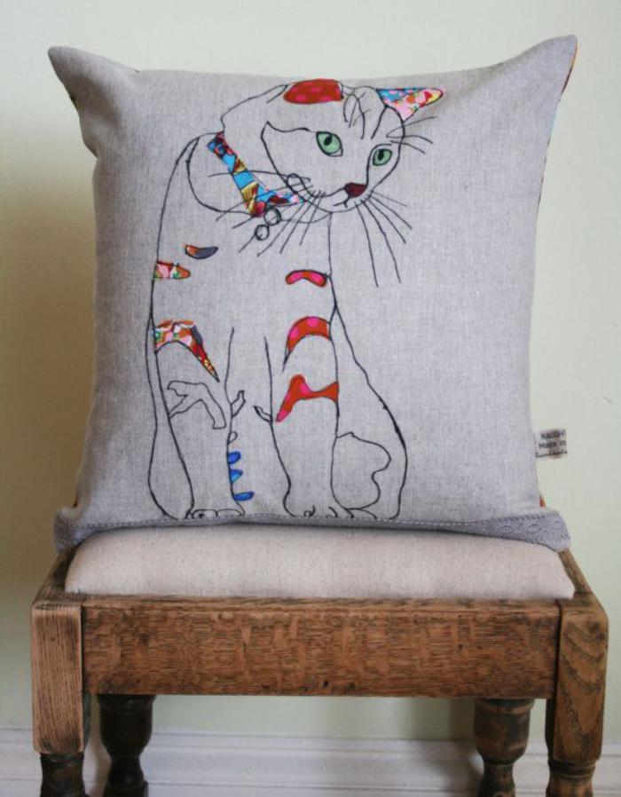 coussin-personnalisé-chat-pop-art