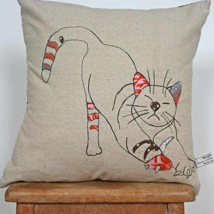 coussin-personnalisé-dessin-chat