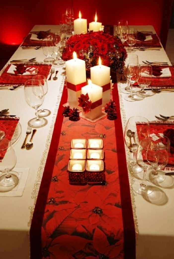 La d coration de table de no l 43 id es que vous allez - Decoration table de noel rouge et or ...