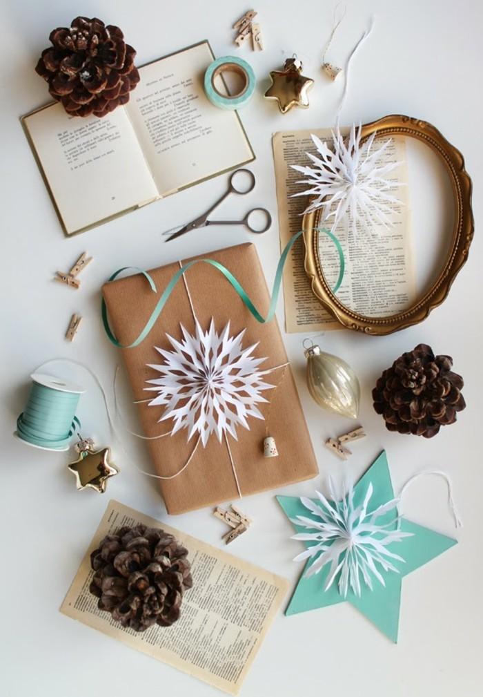 emballage-cadeau-original-belle-idée-diy-papier-à-décorer-noeud-cadeau-snow-flake