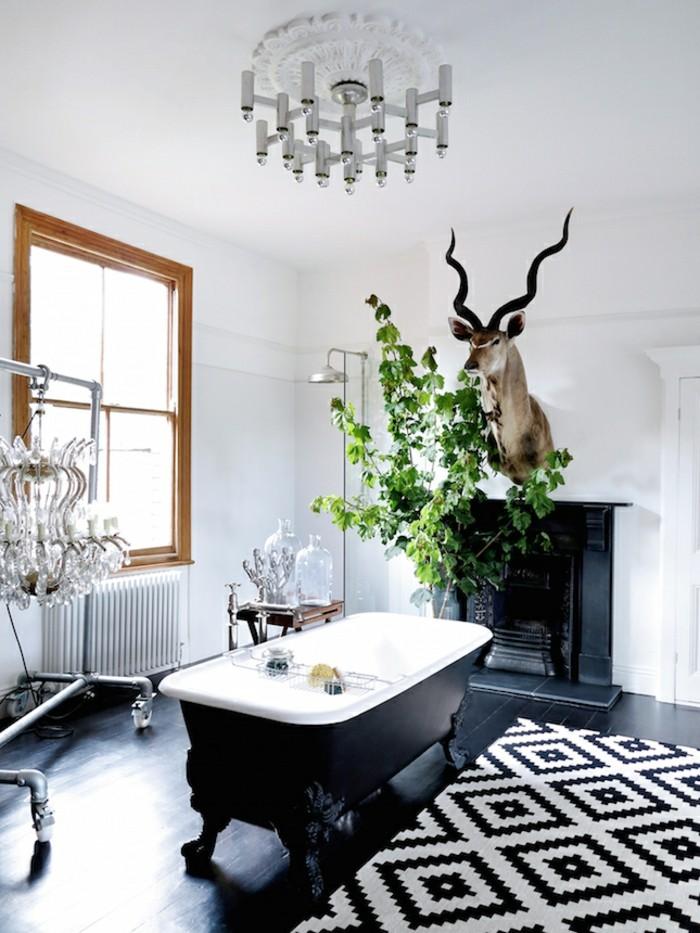 Cool id es pour le tapis de salle de bain original - Tapis de bain noir et blanc ...