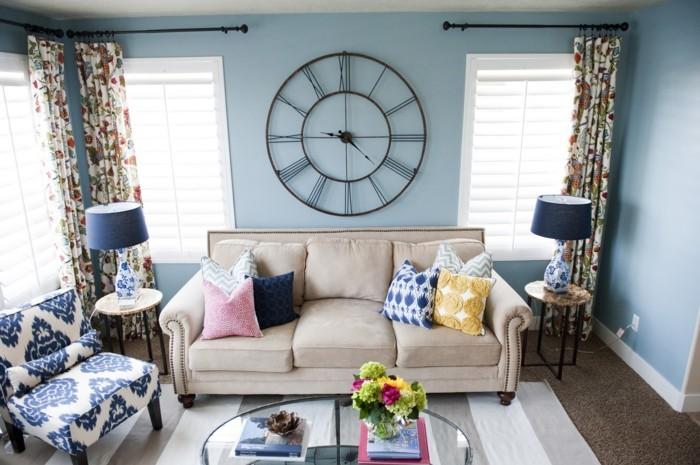 grande-horloge-murale-horloge-murale-design-decoration-murale-salon-bleu-géante-horloge