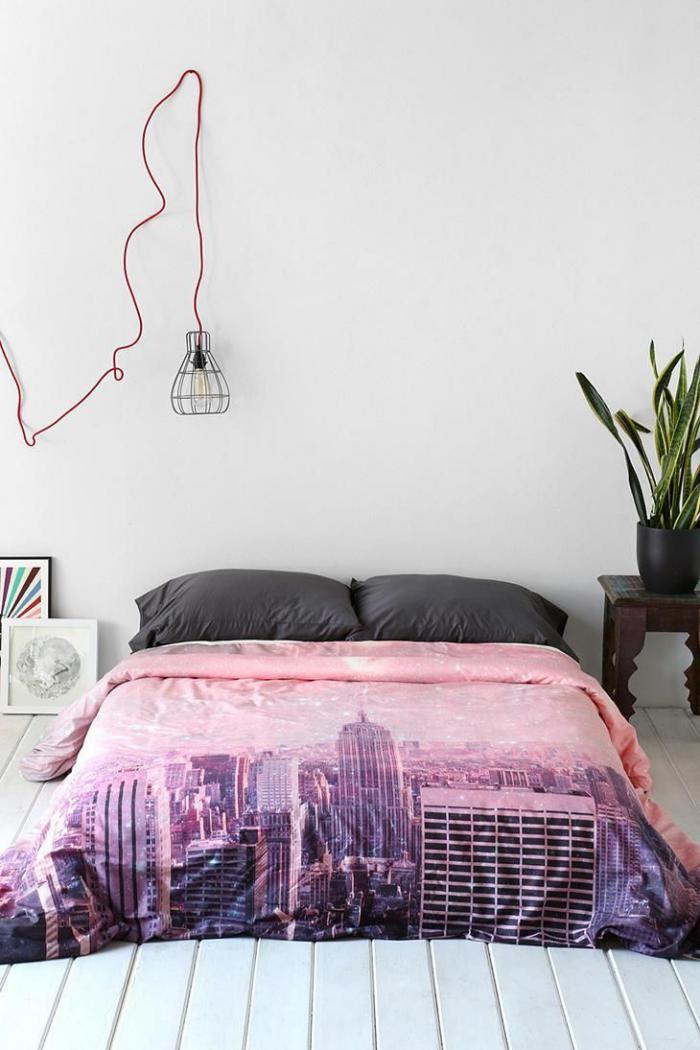 housse-de-couette-new-york-en-couleur-rose-chambre-à-coucher-chic