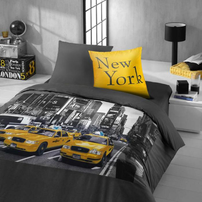 la housse de couette new york un beau style pour la chambre coucher. Black Bedroom Furniture Sets. Home Design Ideas