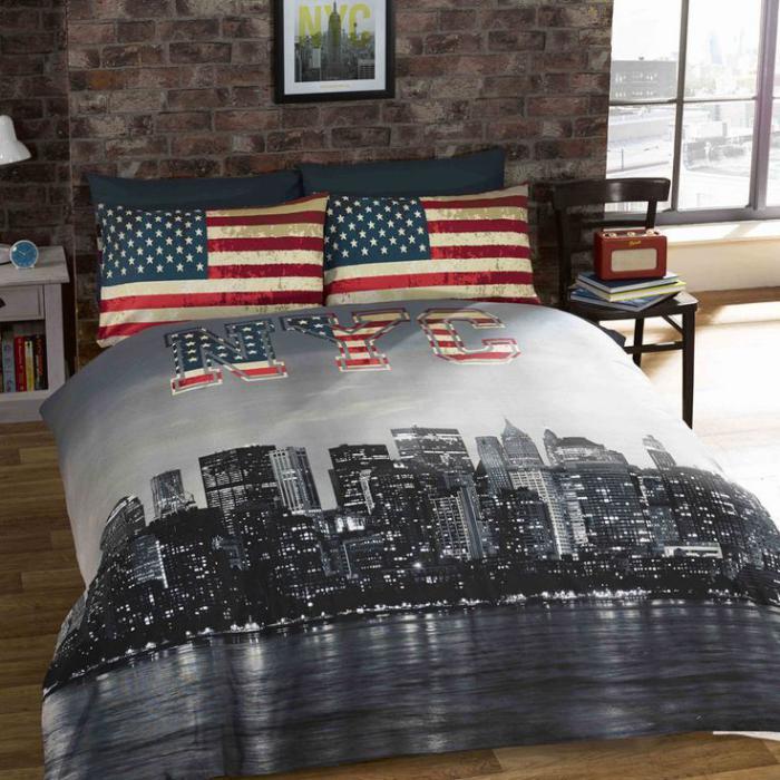 la housse de couette new york un beau style pour la chambre coucher. Black Bedroom Furniture Sets. Home Design Ideas