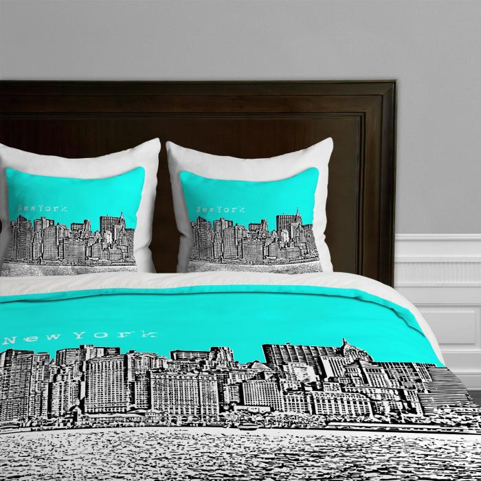 housse-de-couette-new-york-noir-et-turquoise