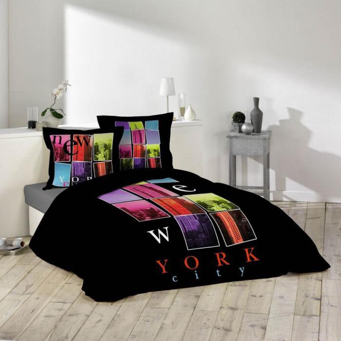 housse-de-couette-new-york-parure-de-lit-noire-imprimé-new-york