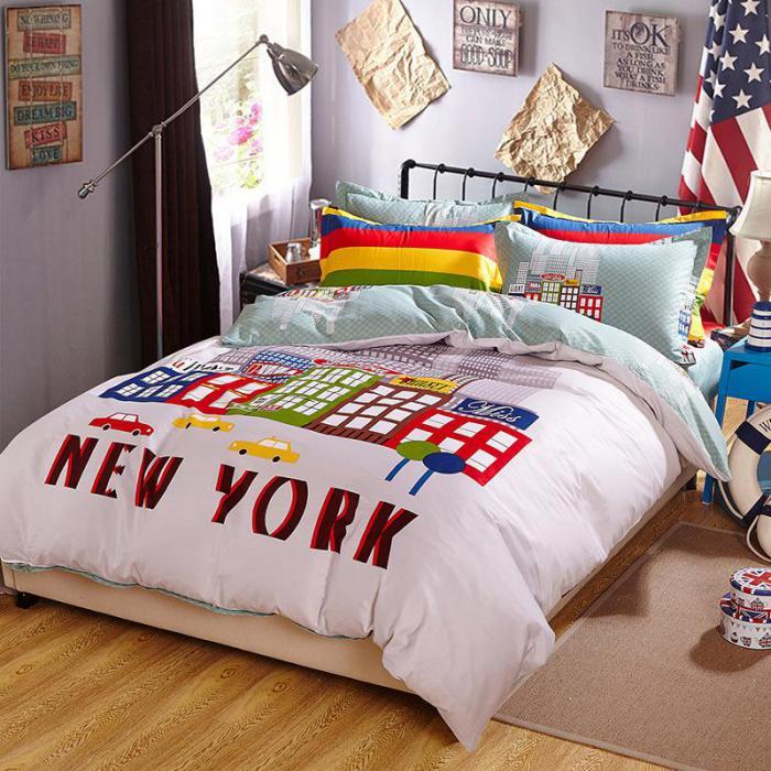 housse-de-couette-new-york-pour-chambre-d'ado-linge-de-lit-coloré