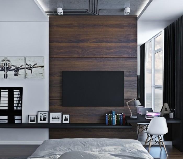 idée-belle-pour-la-salle-de-séjour-de-lux-tv-peinture-aeroplan