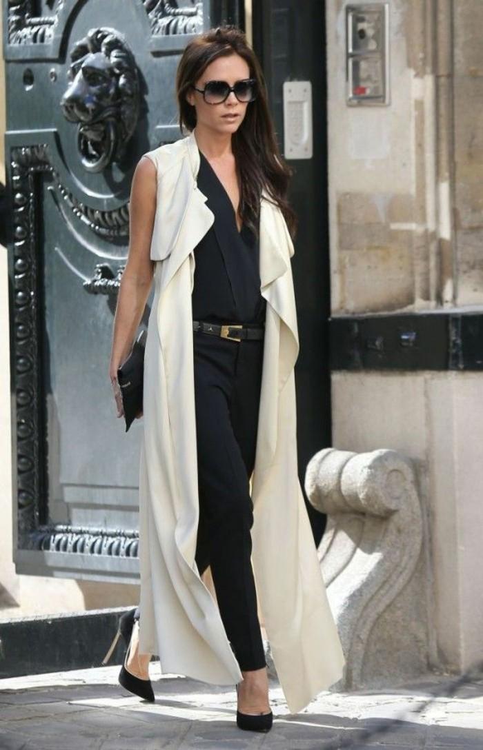 idée-tenue-gilet-long-sans-manche-femme-victoria-beckham