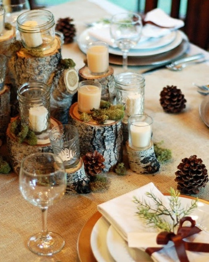 Decoration table de noel rustique for Idees deco table noel