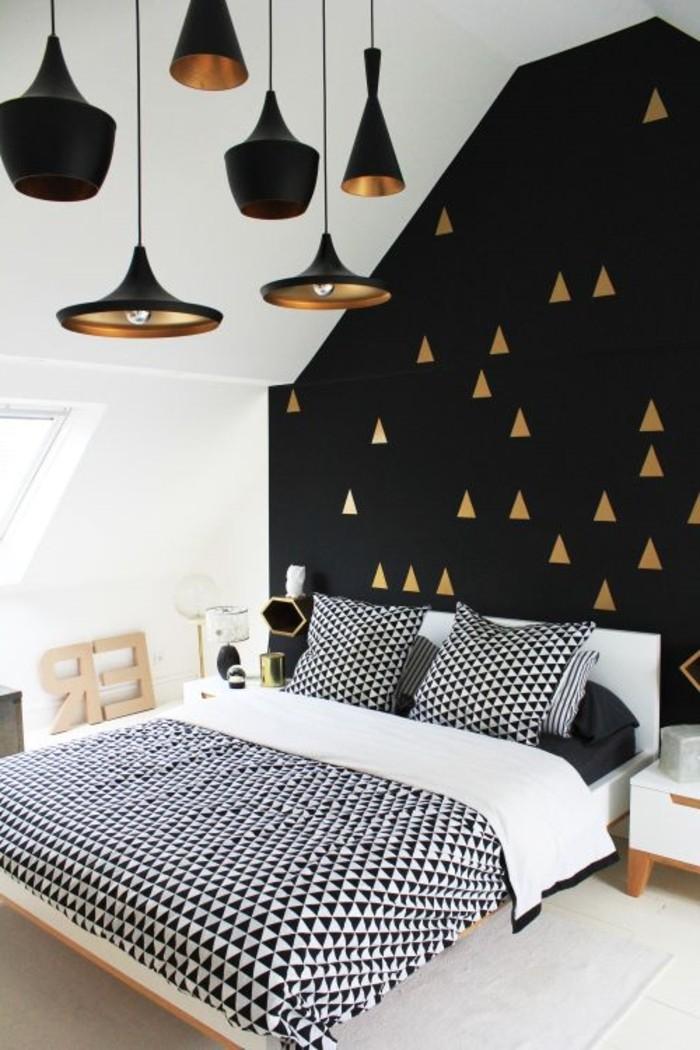 intérieur-design-la-lampe-de-bureau-design- lit-noir-et-blanc