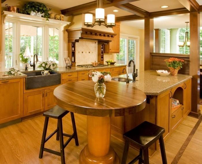 La cuisine arrondie dans 41 photos pleines d 39 id es - Parquet dans la cuisine ...