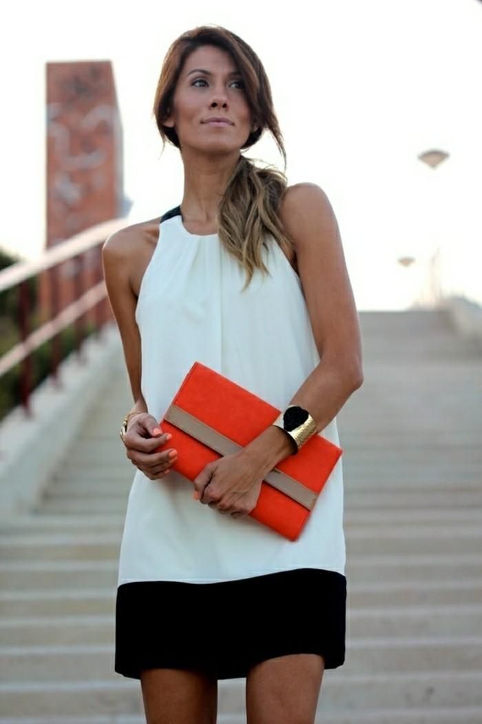 jolie-robe-de-soirée-courte-blanche-et-noire-pour-les-filles-modernes-avec-sac-a-main-orange-resized