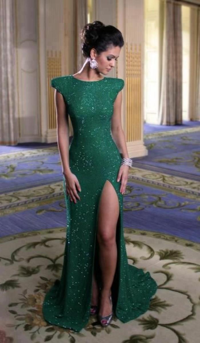 jolie-robe-habillée-pas-cher-robe-de-soire-vert-foncé-avec-paillette-femme-elegante-avec-robe-verte