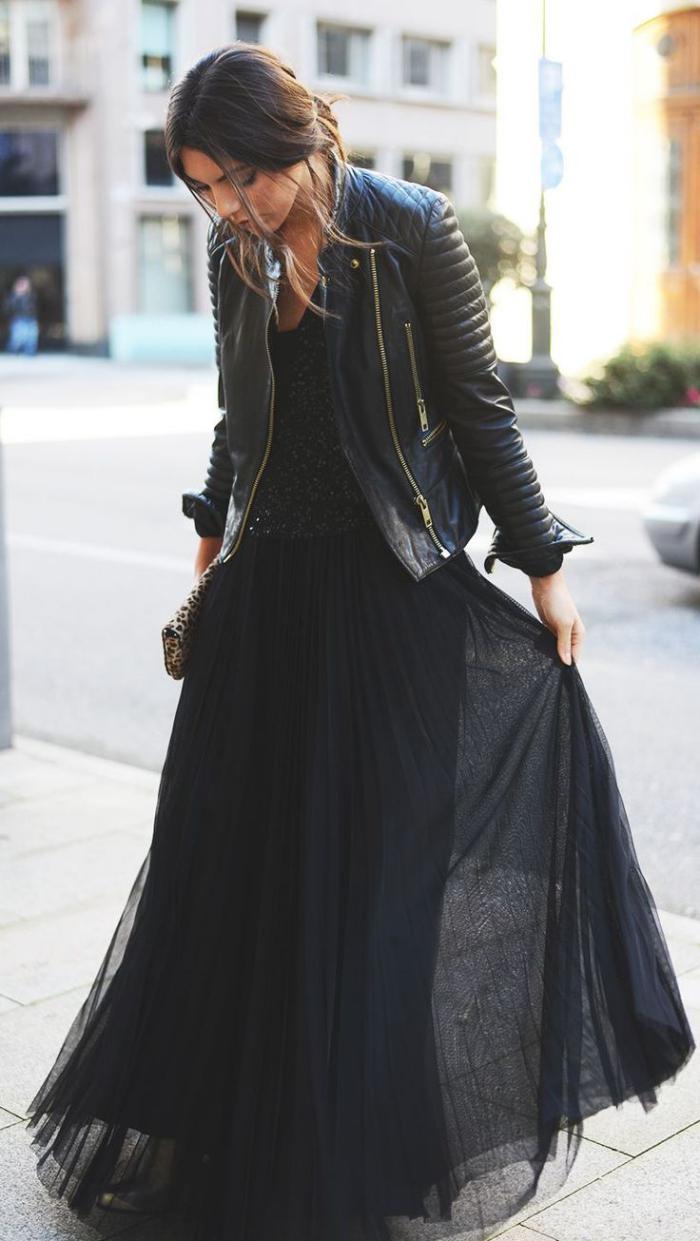 jupe-plissée-en-tulle-veste-rockeuse-noire