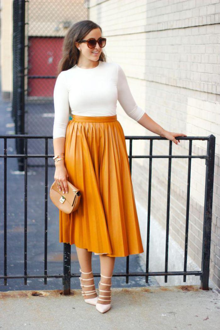 jupe-plissée-jaune-midi-jupe-en-cuir-taille-haute