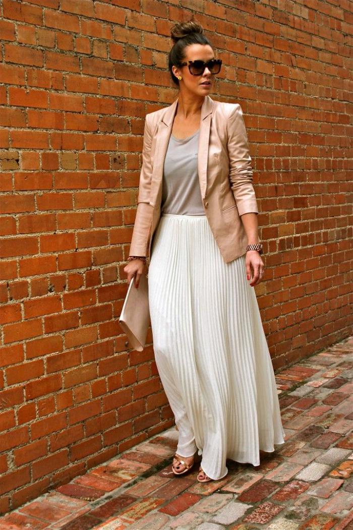 jupe-plissée-longue-jupe-blanche-jacket-élégant